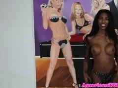 Skinny black busty transbabe whipping man