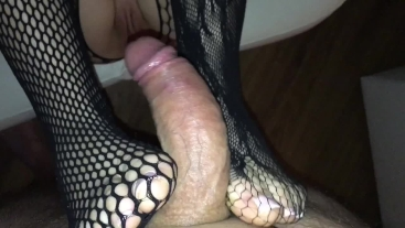 Fishnet bodystocking pov footjob and handjob with cumshot on legs