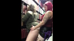 Lesbian strap-on at Library