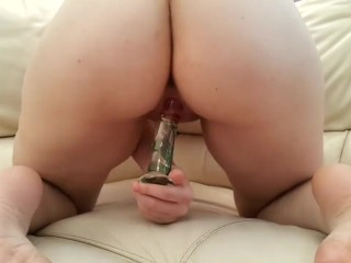 Glass dildo play from behind