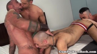 Grey wolf assfucking twinks in foursome 3some bondage