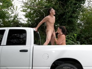 Busty Babe can't wait to Fuck wild in a Pick-up Truck