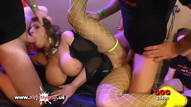 Sexy MILF with Huge Tits lost in a sea o Cocks - German Goo Girls