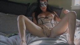 Two toys brings young hottie to intense Orgasm while brother does dishes