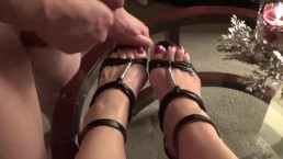 Naughty Milf gets her sexy feet and heels covered in hot cum