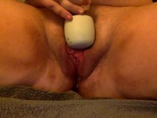 FTM Trans Male Masturbation with Wand & Glass Dildo