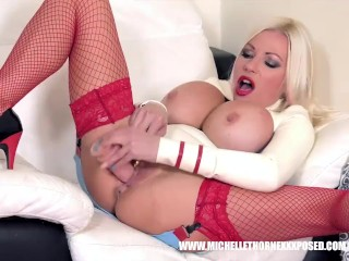 Slutty busty blonde nurse in latex fishnets fucks her face pussy with toys