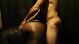 RedBone and Ebony BBW sneaks quickie after Thanksgiving Dinner