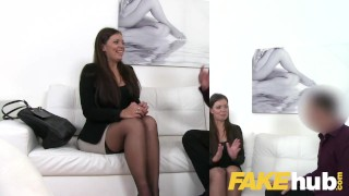 Brunette sucks and sofa agent fucks smartly on agent dressed fake casting couch czech
