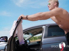 Gay blonde porn with naked muscle man playing the main role