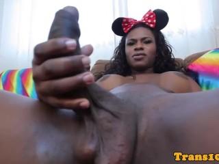 Bigtitted black tgirl tugging after teasing