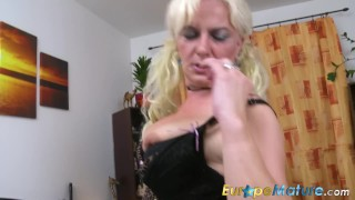 Europemature lady playing blonde the on is bed mom old