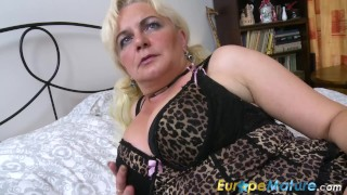 EuropeMaturE Blonde Lady is Playing on the Bed Chubby reverse