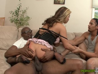Natural asian rough interracial anal threesome with coc...