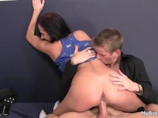 His Czech brunette girlfriend rides friend's dick