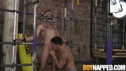 Koby Lewis is bound and clothespin tortured by Jack Taylor