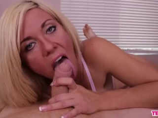 Super hot blonde POV blowjo