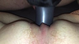 Slave fucks my pussy with a dildo in his mouth