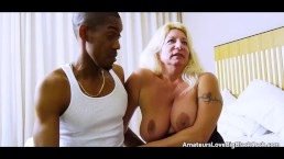 Old blonde granny takes younger big black cock