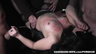 Degrading gangbangs with sex slave slutwife