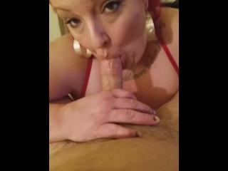 HUGE TITS SEXY BBW IN RED GIVING HER MAN A SEXXXY SHOW