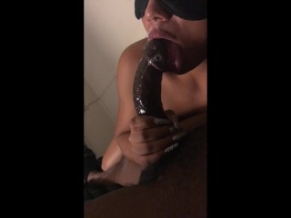 first time on camera. sexy ebony sloppy blowjob in the pose.