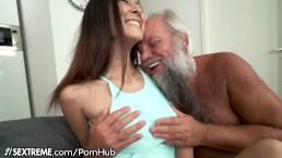 Grandpa Greets Teen Lover in His Towel...