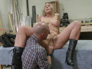 Beautiful Blonde Babe Fucked in The Workshop