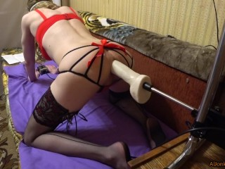 Fucking Machines, fucked a TS blondie in a doggystyle