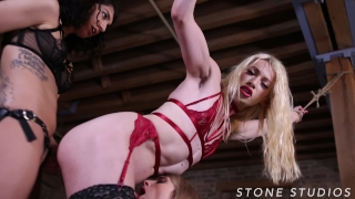 TS Sex Slave Sasha De Sade tied up, edged, and used by horny Fem Doms