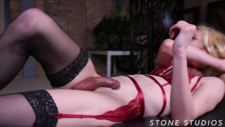TS Sex Slave Sasha De Sade tied up, edged, and used by horny Fem Doms