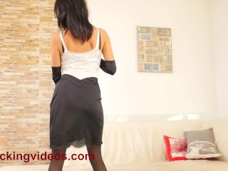 Preview 1 of StockingVideos - Vanessa Decker has a big black dildo in her ass