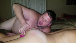 Daddy cums in her mouth, she cums on face, spanking for being a bad girl