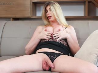 VRB Trans - Small Tits Blonde TS Milf masturbating and ass play