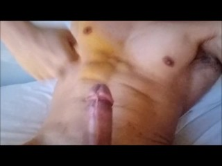Feeling my hard muscles and rock hard cock