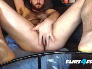 Leo Starlight on Flirt4Free Guys - Big Dicked Hairy Stud Wanks on His Sofa