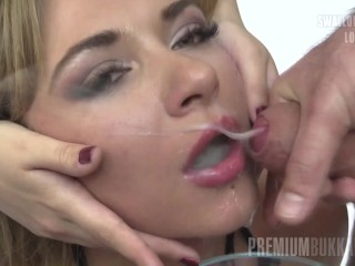 Preview 2 of Premium Bukkake - Katy swallows 75 huge mouthful cumshots