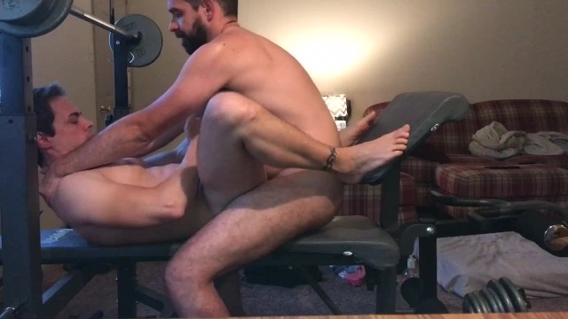 Over weight gay men - Homemade flip flop breeding on weight bench