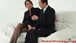 Classy nippon newhalf buttfucked in stockings