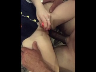 Couple try out new toy, Huge penis extender
