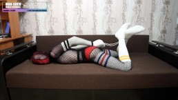 Encasement bondage in fishnet body tights and socks