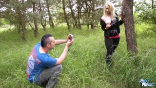 Cheating agent convince young blonde to show pussy & fuck her outdoor