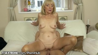 21SeXtreme Horny Granny Rides Young Studs Throbbing Cock Face boobs