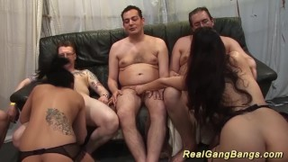 Two chicks real party gangbanged