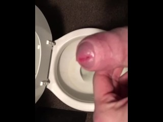 Stroking my Cock before taking a Piss
