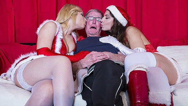 Four men cum 2 girls fuck 2 old men and swallow their cum on chirstmas day