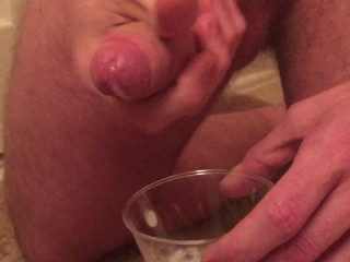 Cumming into a cup at the Wife's request