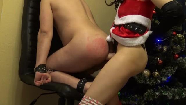 Christmas mrs Claus strapon bad boy and masturbate him till cumshot on tits 6