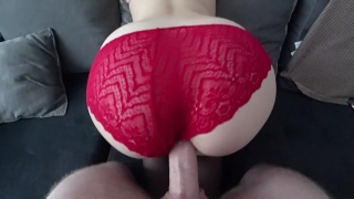 And sex in through red stockings panties ass point