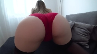 Sex in stockings and through red panties Sex cock
